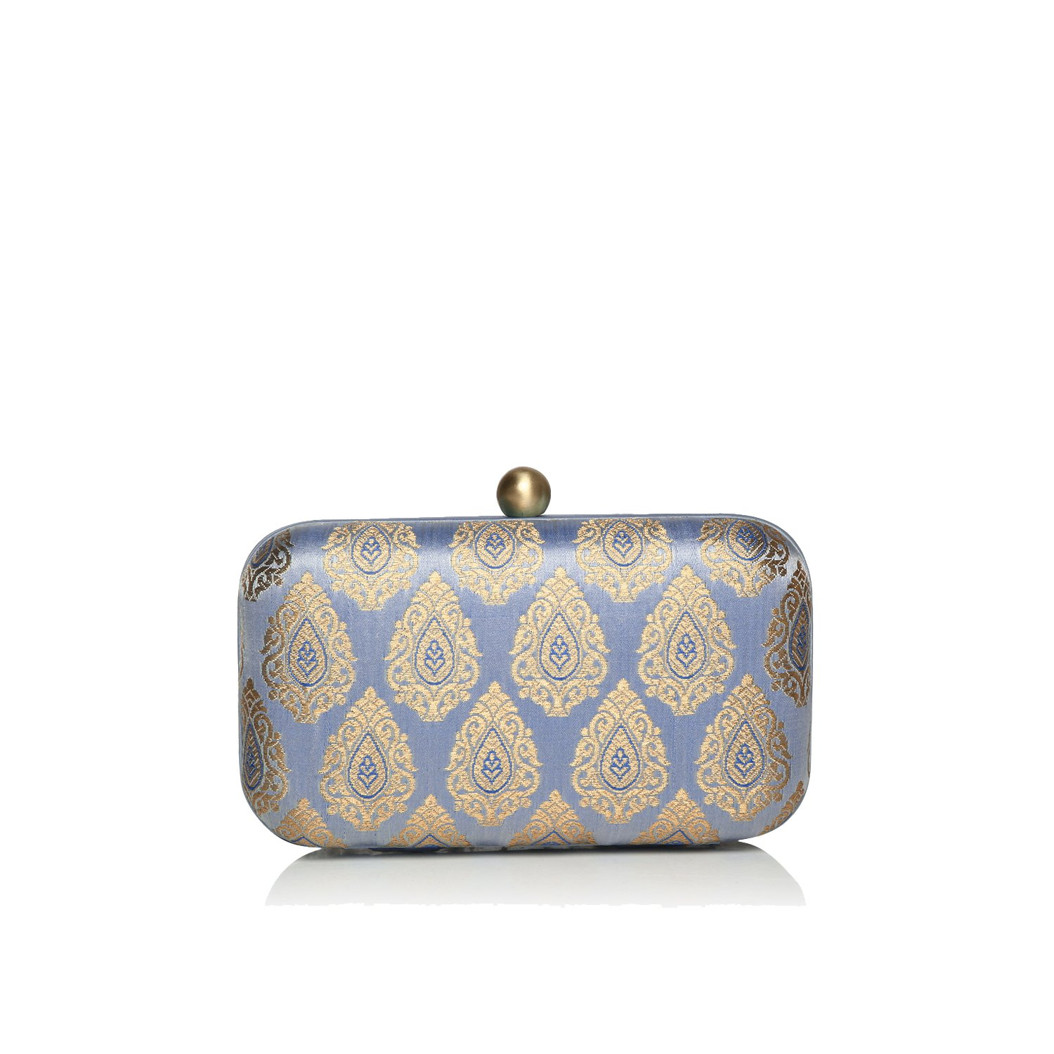 Riverdale stylish hardcase silk jacquard ethnic party evening clutches for women by Monokrome New York (large, powder blue)