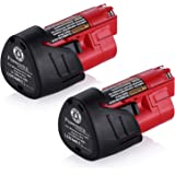Powerextra 2 Pack 12V 3000mAh Lithium-ion Replacement Battery Compatible with Milwaukee M12 48-11-2411 48-11-2420 48-11-2401