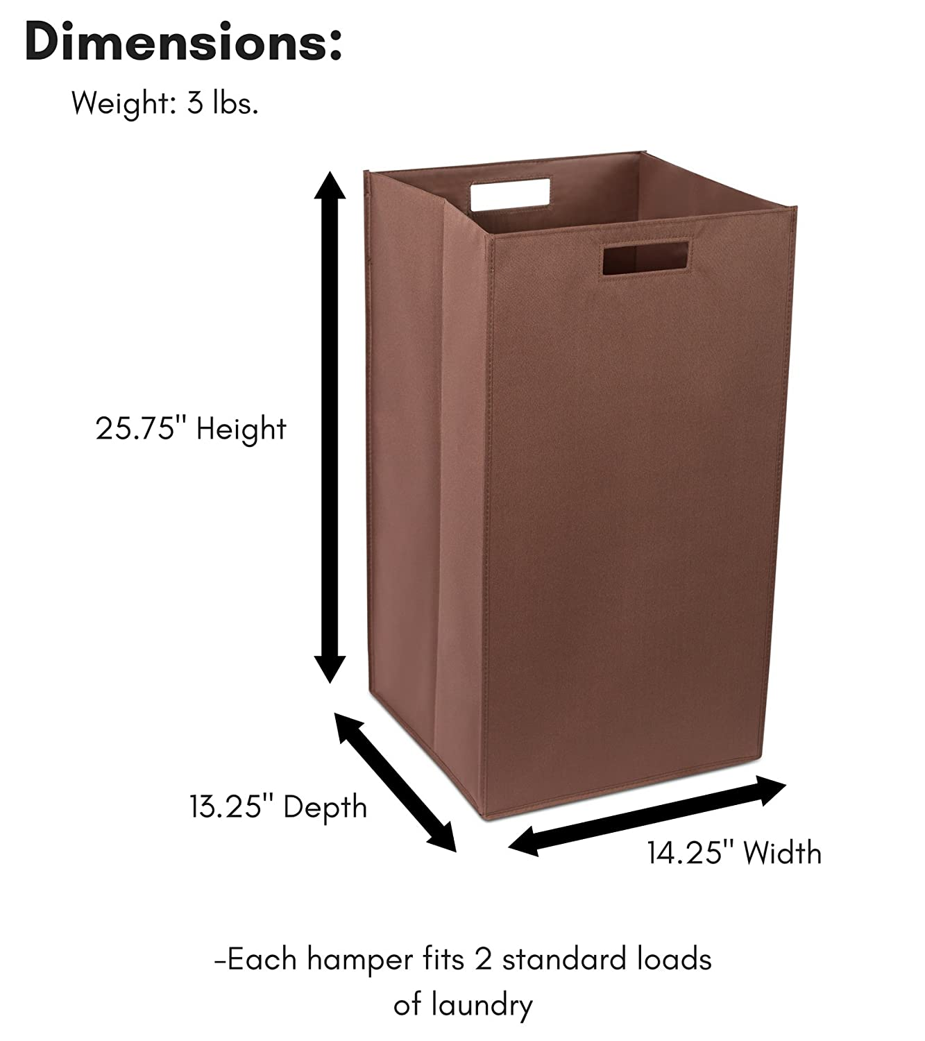 Dirty Clothes Sorter with Handles Folding Black Internet/'s Best SYNCHKG096950 Easy Storage Magnetic Side Internets Best Collapsible Laundry Hamper