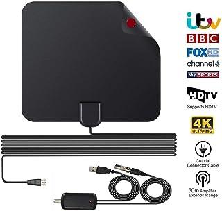 Antenne TV Intérieur Puissante, Amplifiée 60+ Miles avec Signal Amplificateur Booster HDTV Antenne TNT Intérieur Puissante avec 16FT Câble Coaxial pour DVB-T TNT Numérique et Analogique TV Signaux