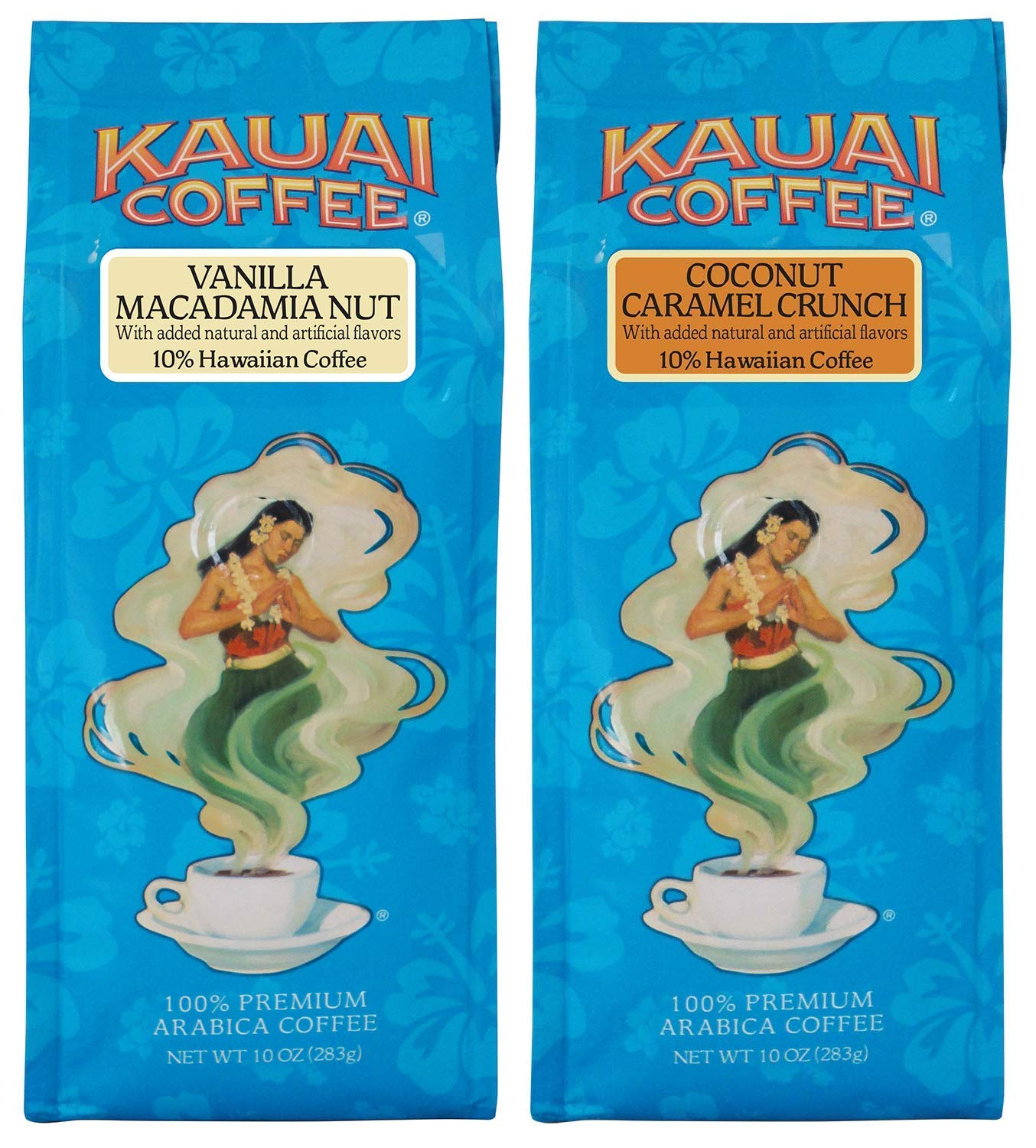 Kauai Coffee, Variety Pack, Vanilla Macadamia Nut and Coconut Caramel Crunch, Ground Coffee, 10 Ounce Bag (Pack of 2)