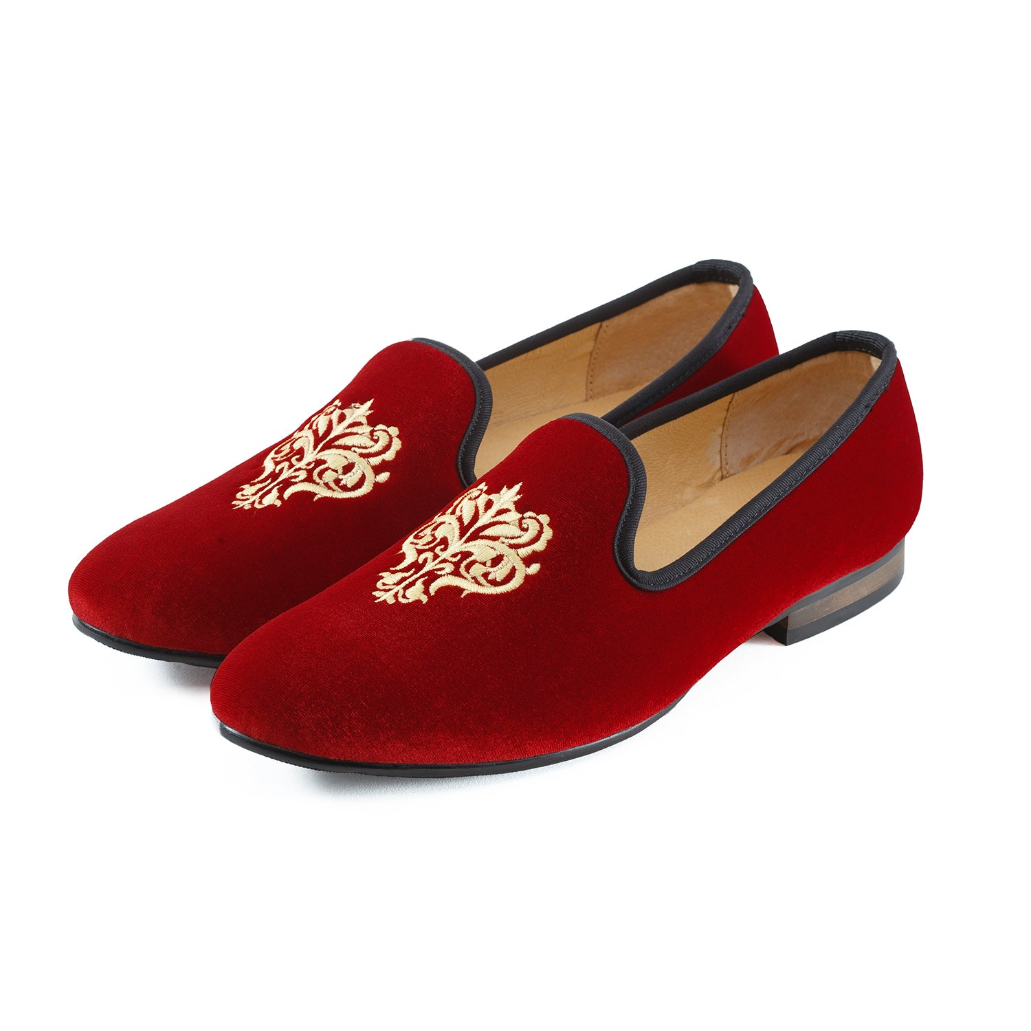 Mocassins Homme Broderie Noble Mocassins Velours Chaussure Vintage Chausson Fantaisie Chaussures Homme Loafers Homme Slippers Homme Pantoufle Noir//Rouge//Bleu