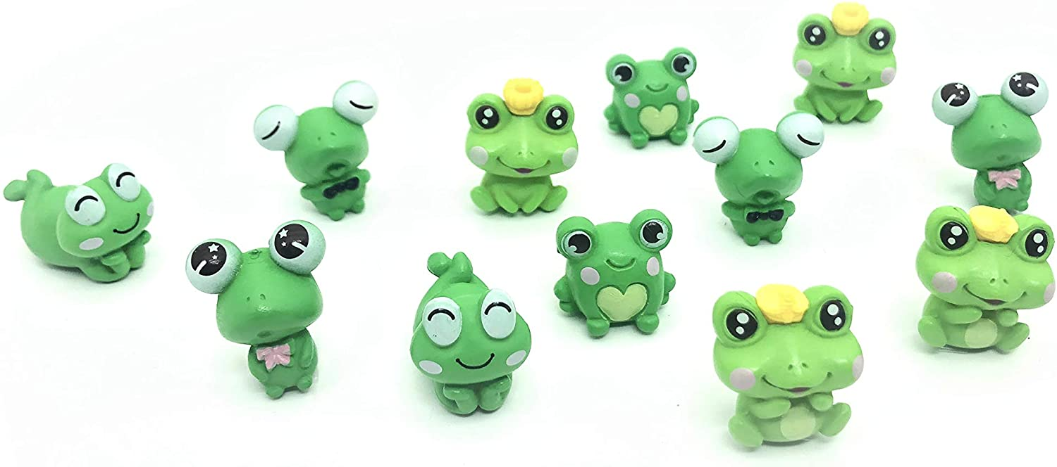 12 Pcs Resin Mini Frogs Cute Frog Miniature Figurines Animals Model Fairy Garden Miniature Moss Landscape DIY Terrarium Crafts Ornament Accessories for Home Décor
