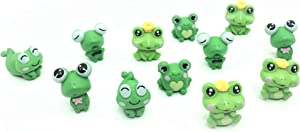 12 Pcs Resin Mini Frogs Cute Frog Miniature Figurines Animals Model Fairy Garden Miniature Moss Landscape DIY Terrarium Crafts Ornament Accessories for Home Décor