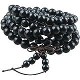 Shanxing Bois Bracelet/Collier Mala 108 Perles Chaîne Tibétain Bouddhiste Buddha Chinois Noeud Homme,Femme