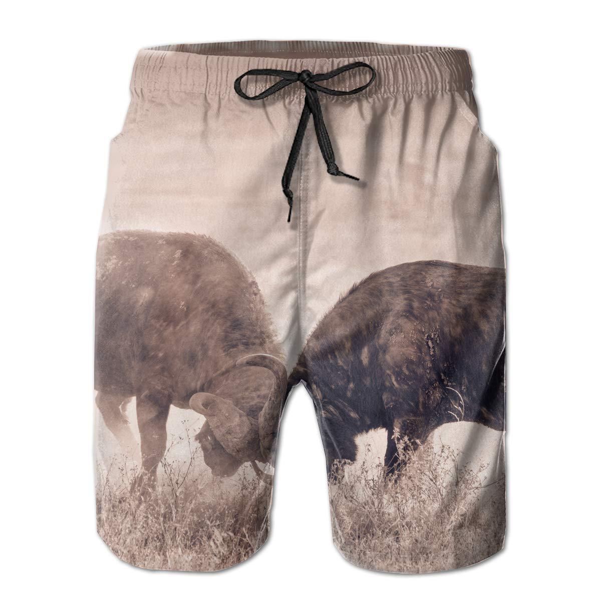 African Buffalo Fighting Mens Quick Dry Swim Trunks Beach Board Short Drawstring Casual Athletic Shorts