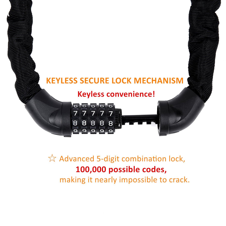 Sportneer Bicycle Chain Lock, 5-Digit Resettable Combination Anti-theft Bike Locks by Sportneer (Image #2)