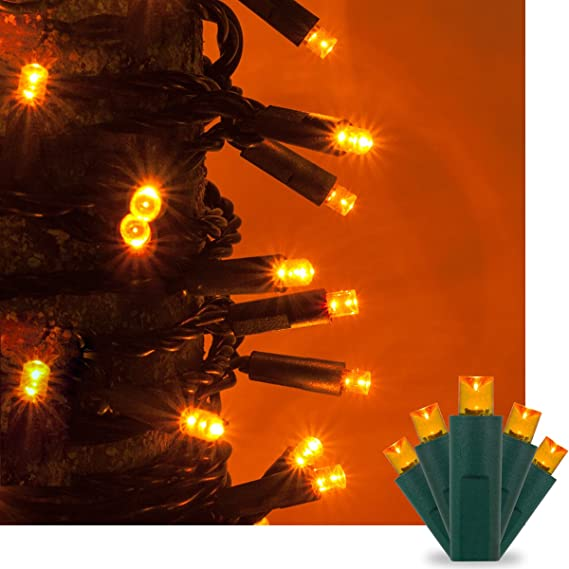 amazoncom amber orange led christmas mini string light set 50 5mm lights indoor outdoor christmas light decorations 120v ul certified