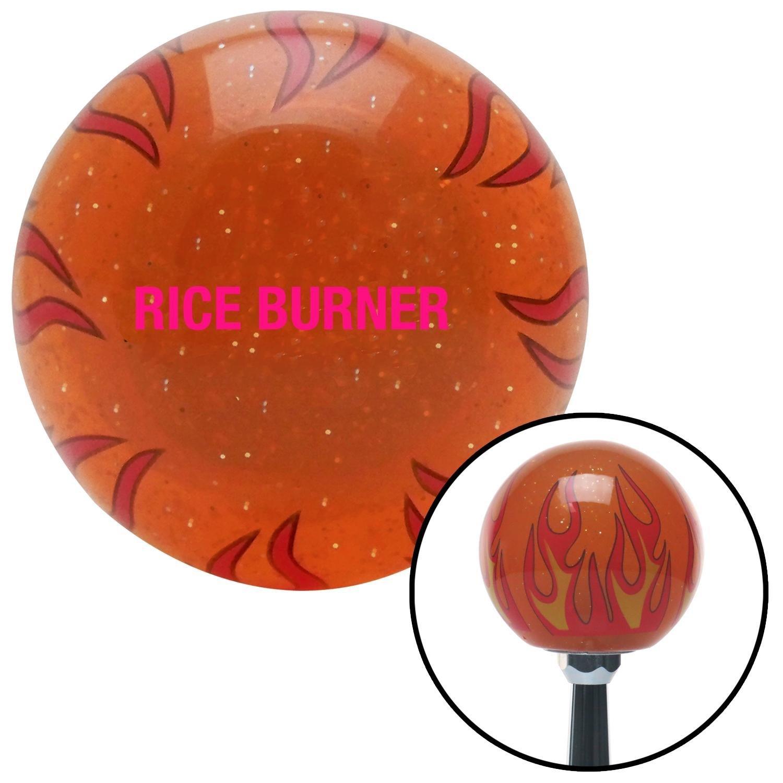 American Shifter 256605 Orange Flame Metal Flake Shift Knob with M16 x 1.5 Insert Pink Rice Burner