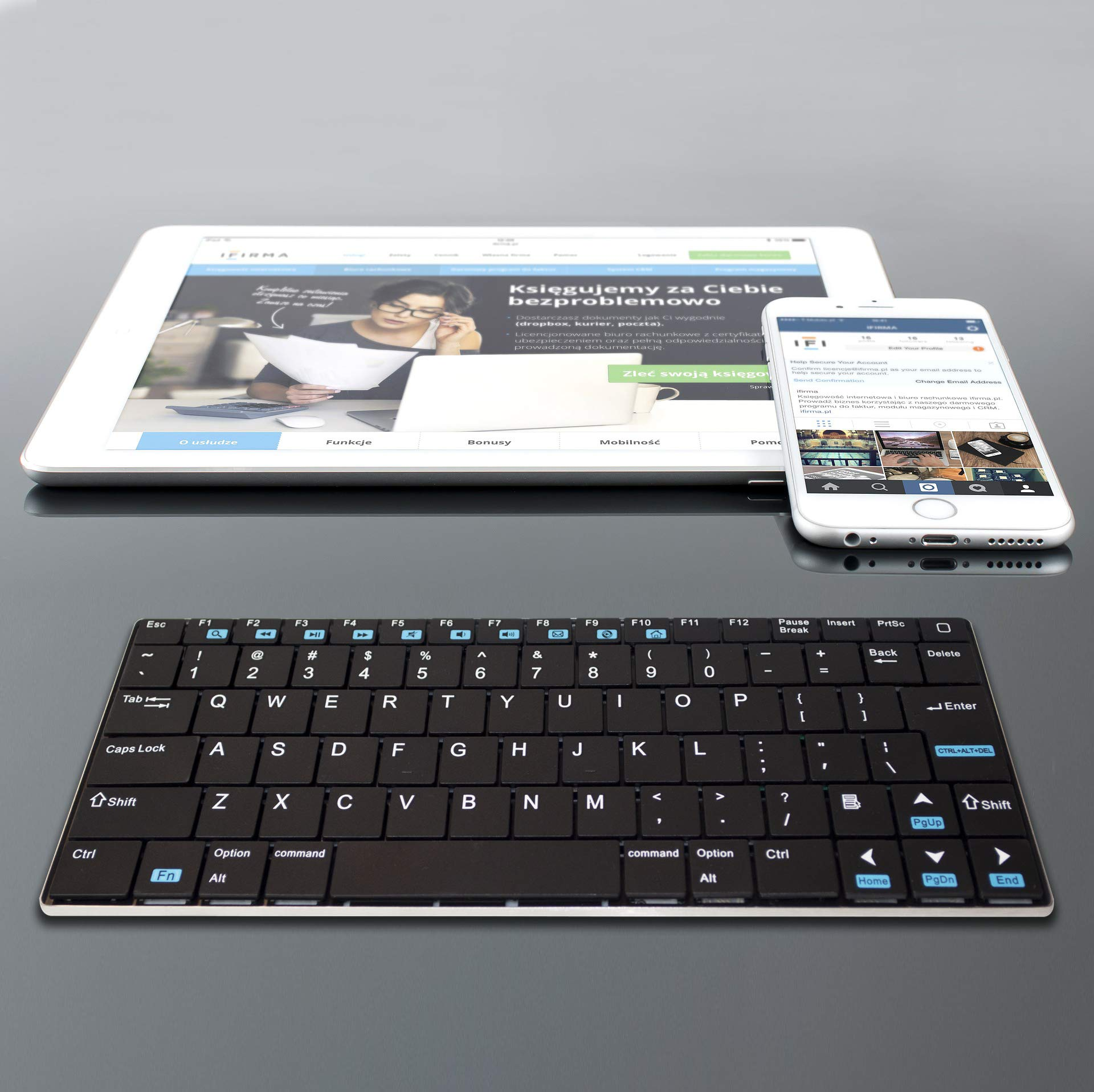 Rii Mini K12 Stainless Steel Cover Wireless Keyboard with Built-in