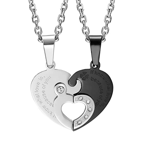 Urban jewelry 2pcs his hers couples gift heart crystal pendant urban jewelry 2pcs his hers couples gift heart crystal pendant love necklace set for lover aloadofball Gallery