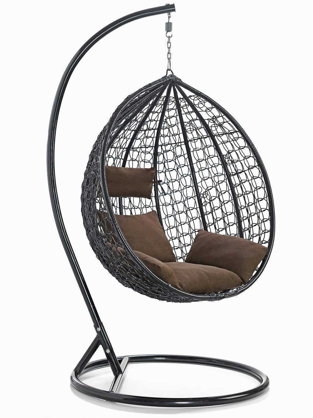 Sedia a dondolo sospesa per ambienti interni ed esterni con comodo cuscino imbottito e sfoderabile misura standard Modello Giuditta
