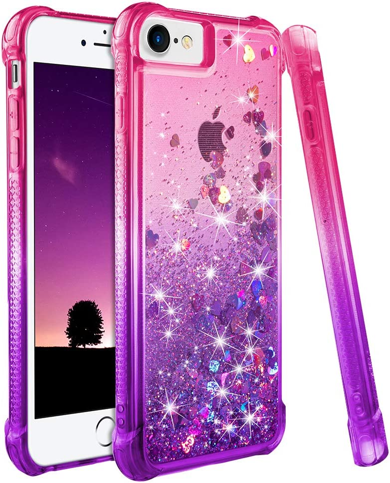 "Ruky iPhone 6 6S 7 8 Case, iPhone SE 2020 Case, iPhone 6s Case for Girls,Gradient Quicksand Series Glitter Bling Liquid Floating Soft TPU Protective Case for iPhone 6/6s/7/8/SE 2020 4.7"" (Pink Purple)"