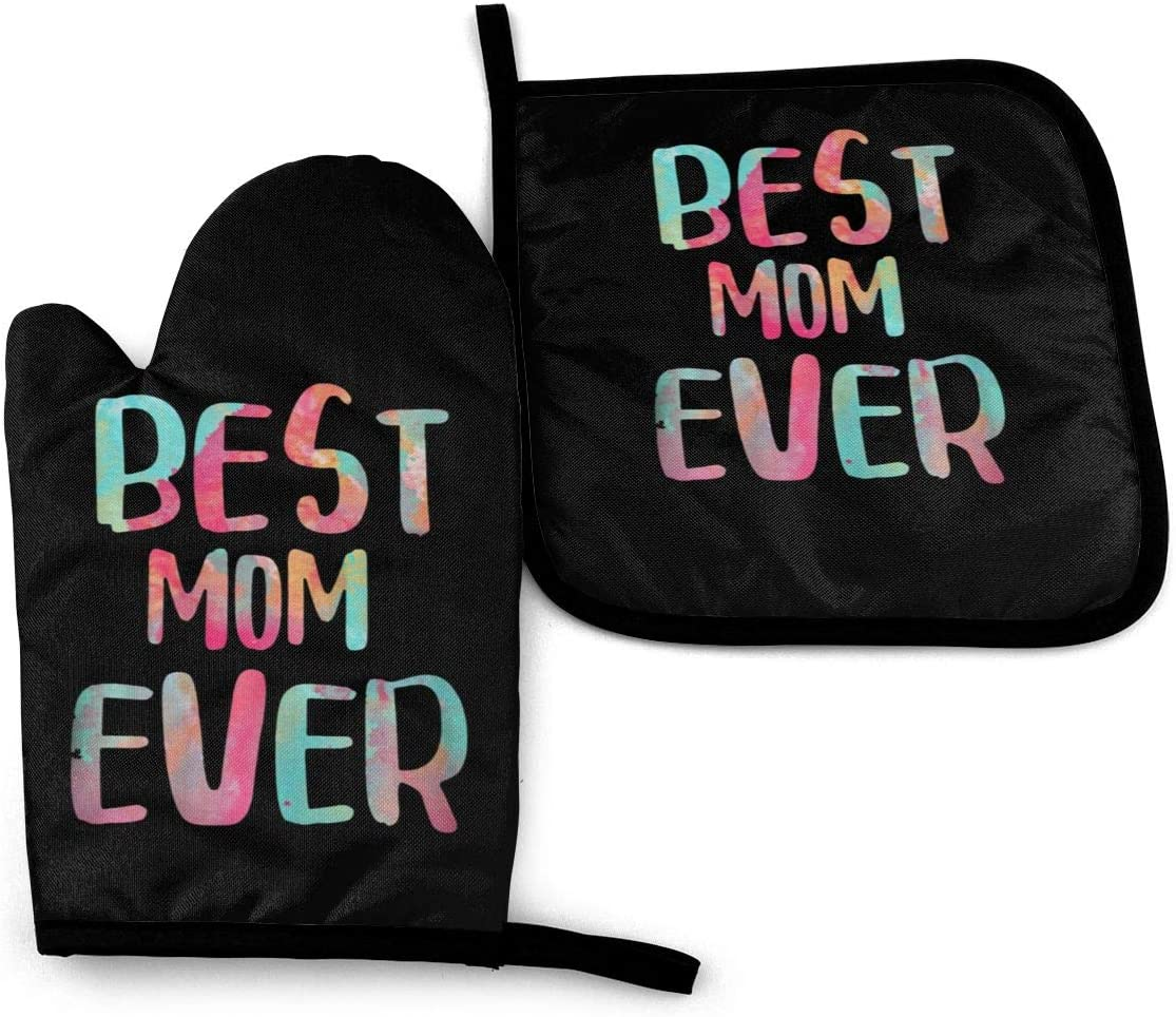 Oven Mitts and Pot Holders Set,Best Mom Ever Washable Heat Resistant Kitchen Non-Slip Grip Oven Gloves for Microwave BBQ Cooking Baking Grilling
