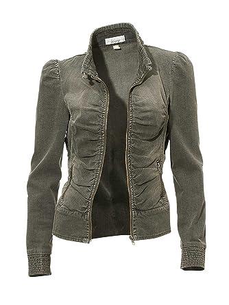 quality design e69a8 c9554 LINEA TESINI Jeans-Jacke natur Figurbetonte Form: Amazon.de ...