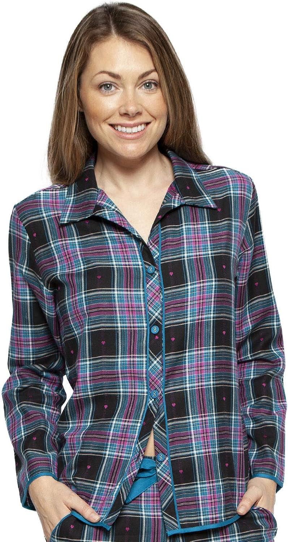 Cyberjammies 4262 Womens Ezme Black Mix Check Cotton Pyjama Top
