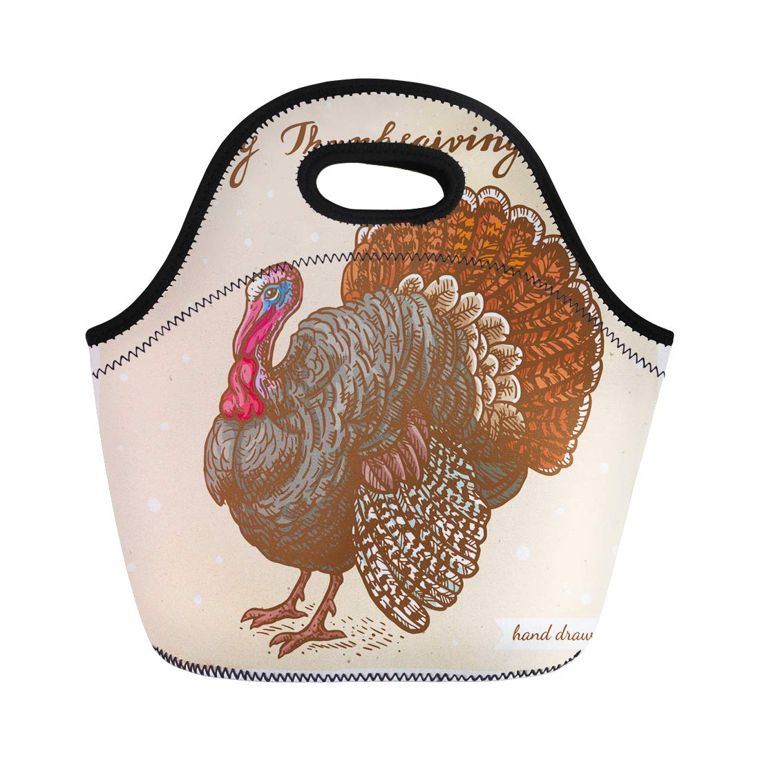 Semtomn Neoprene Lunch Tote Bag Colored Linear of the Turkey and Text Happy Thanksgiving Reusable Cooler Bags Insulated Thermal Picnic Handbag for Travel,School,Outdoors, Work