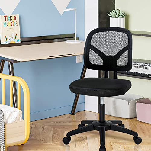 Office Chair Armless Small Mesh Computer Chair Low-Back Desk Chair w/Wheels Adjustable Ergonomic Chair w/Lumbar Support Rolling Swivel Task Chair