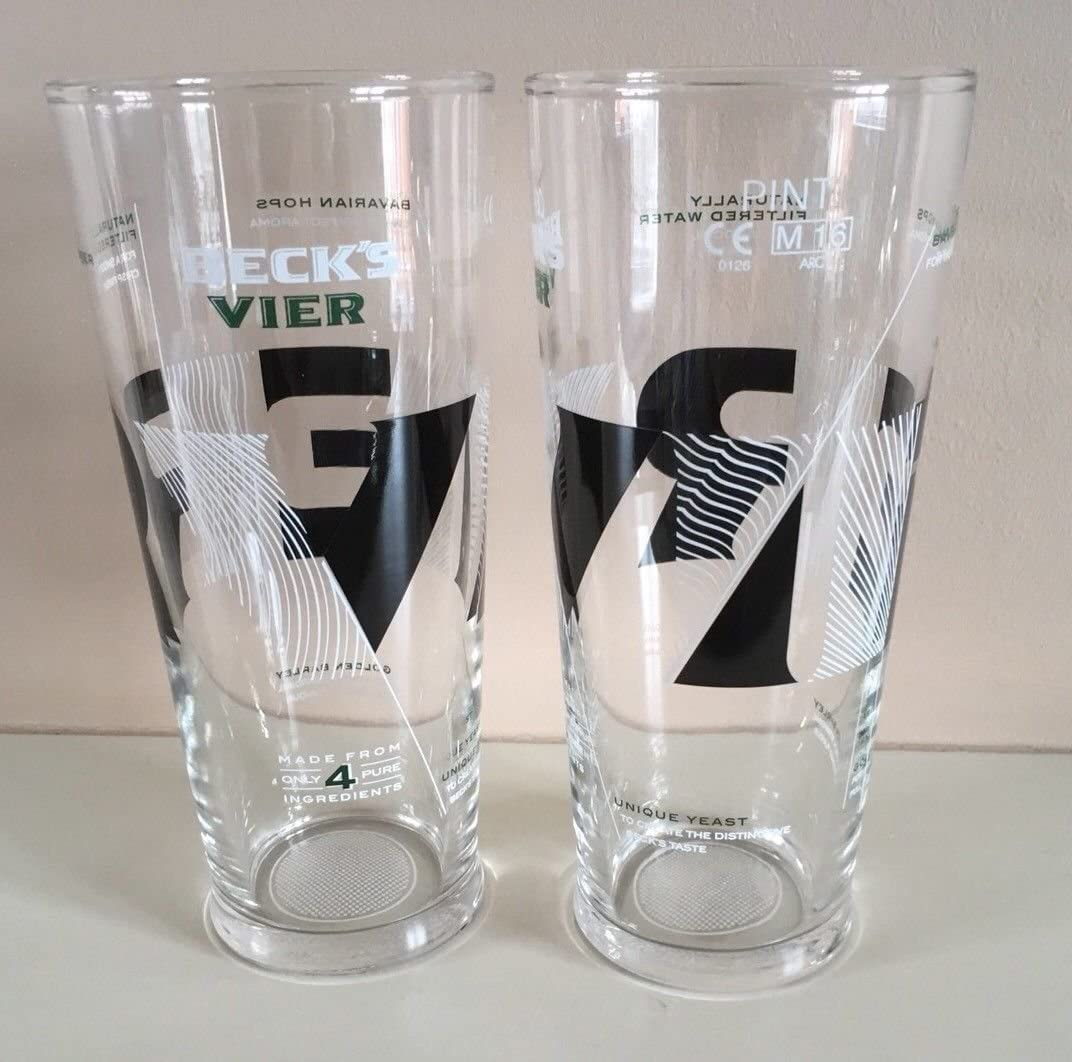 Becks Vier Pint Glass in Box  New!