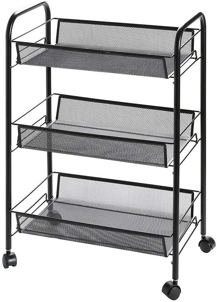ikoerHouse 3 Tier Rolling Storage Cart with Wheels, Utility Metal Mesh Trolley Organizer with Wire Basket Shelving for Homeschool Office Kitchen Bathroom Bedroom and More, Black 3 Shelves