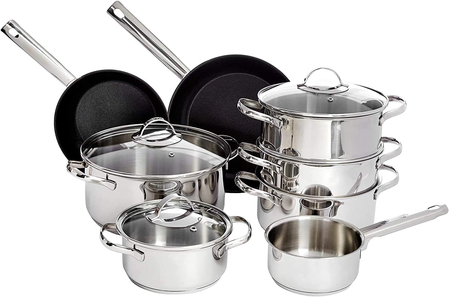 Amazon Basics Juego de Utensilios de Cocina - 11 Piezas, Sartenes y Ollas para Cocina de Inducción, Acero Inoxidable, con Tapas