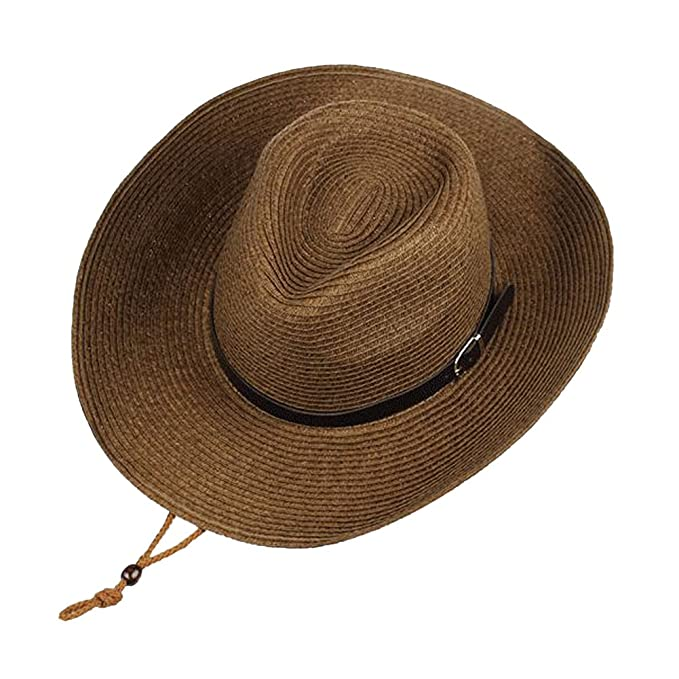 0d134658163d8 Western Straw Cowboy Hat for Men Women Foldable Outdoor Cowgirl Sun Beach  Cap (Brown)