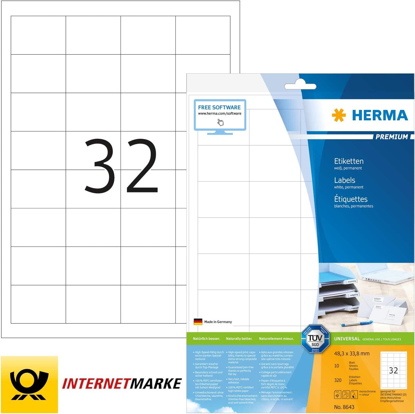 bedruckbar 48,3 x 33,8 mm Herma 8643 Universal Etiketten selbstklebend 10 Blatt Premium DIN A4 Papier matt 320 Klebeetiketten wei/ß
