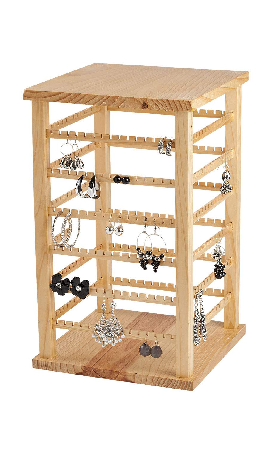Large Wood Rotating Earring Display - 9 3/8''W x 9 3/8''D x 16 3/8''H - Holds 168 Pairs of Earrings by SSWBasics