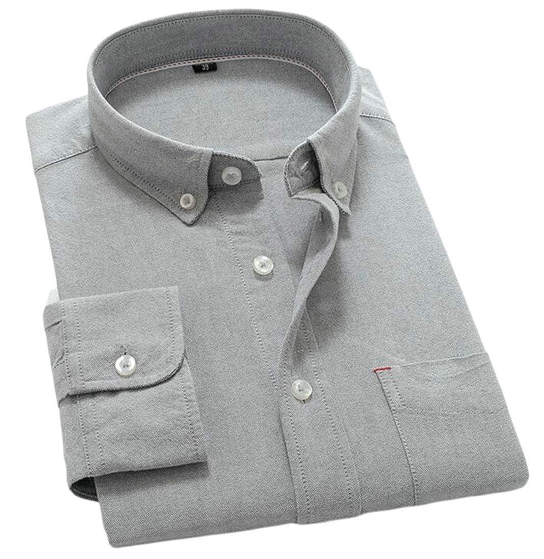 Pandapang Mens Pure Color Long Sleeve Oxford Button-Down Slim Shirts