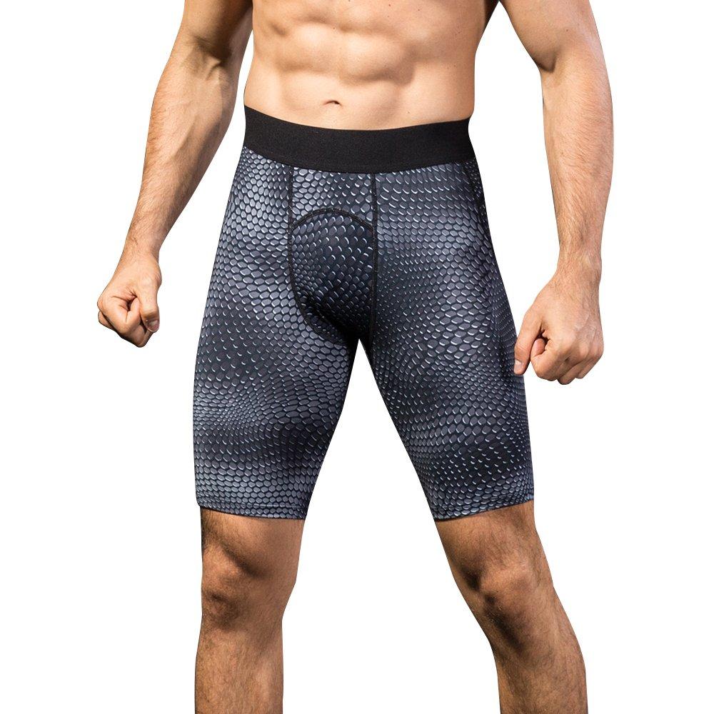 queerierメンズ圧縮ショーツBase Layer Leggings forサイクリング、水泳、Running B07BK46S7Q US L Black Point Black Point US L
