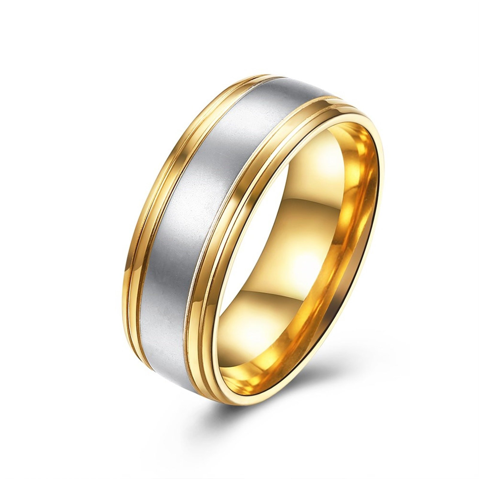 Epinki 8MM Brushed Plain Simple Stainless Steel Gold and Silver Wedding Ring Size 7 Men Accessories