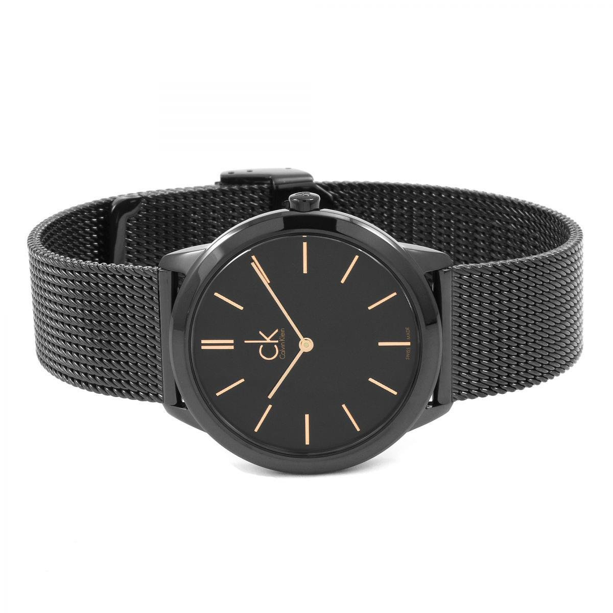 Amazon.com: Calvin Klein K3M22421 Ladies Minimal Black Steel Mesh Bracelet Watch: Watches