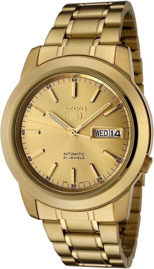 Amazon Com Seiko Men S Snke56 Seiko 5 Automatic Gold Dial Gold Tone Stainless Steel Watch Seiko Watches