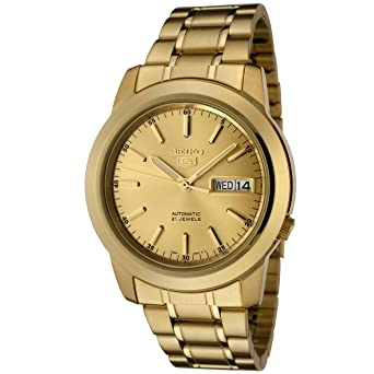 1f3334f68 Image Unavailable. Image not available for. Color: Seiko Men's SNKE56 Seiko  5 Automatic Gold Dial Gold-Tone Stainless Steel Watch