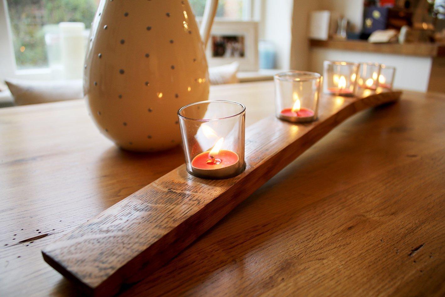 Rustic Oak Candle Holders Whiskey Barrel 3 Tea Lights