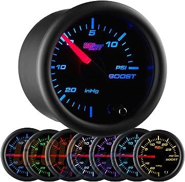 GlowShift Black 7 Color 35 PSI Boost Gauge