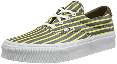 1a55e2ebdf Vans Unisex Era 59 (Stripes) Yellow True White Men s 3.5