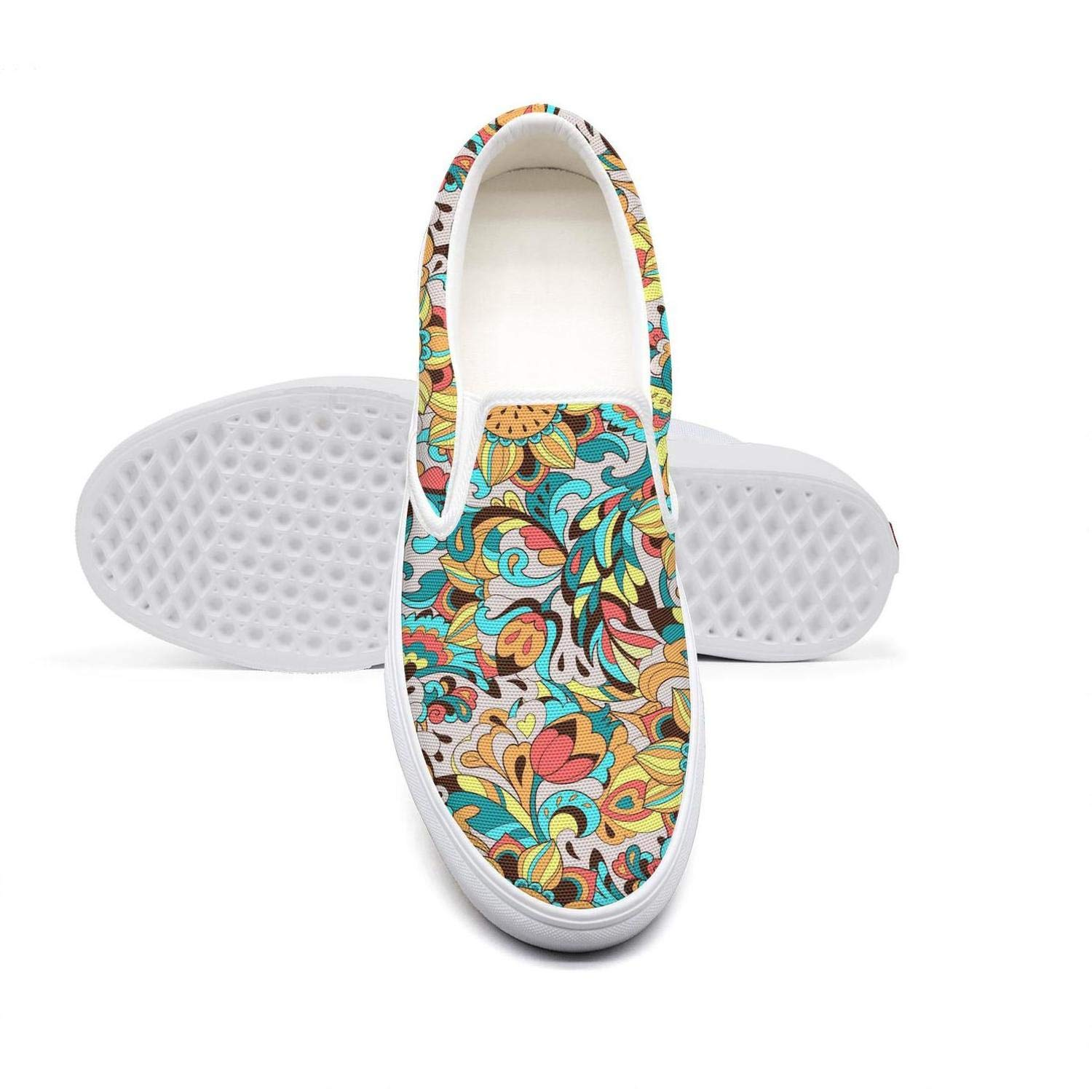 Cyan Tropical Floral Sunflowers Bees Womens Soft Casual Shoes Classic Canvas Slip-On Shoes