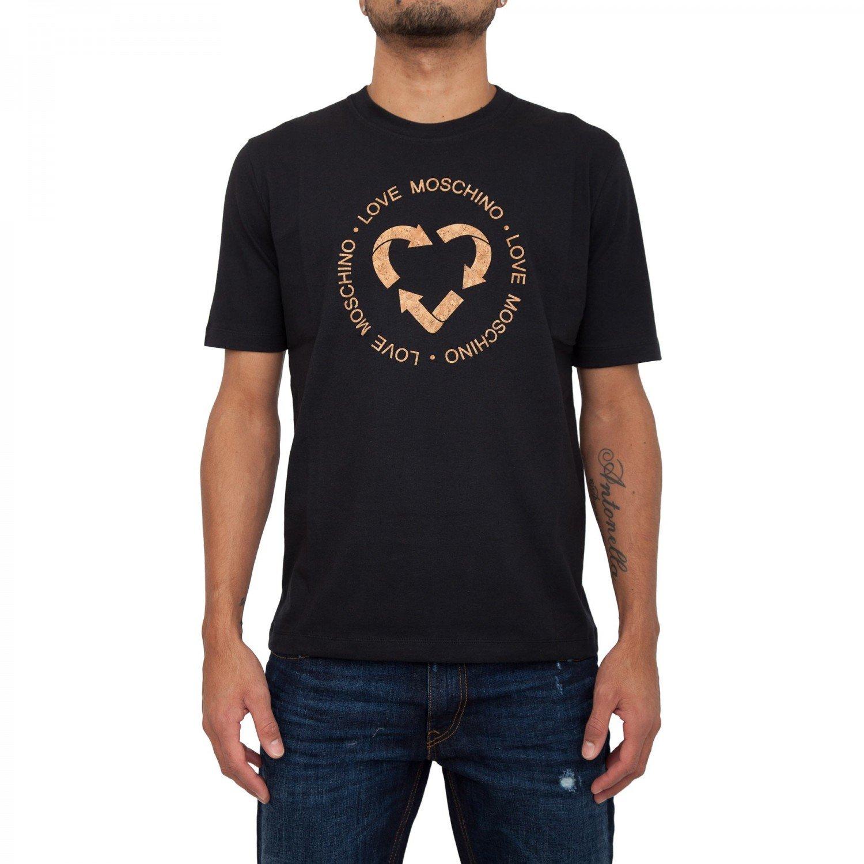 LOVE MOSCHINO Quork Printed Cotton Jersey T-shirt, Black (LARGE)