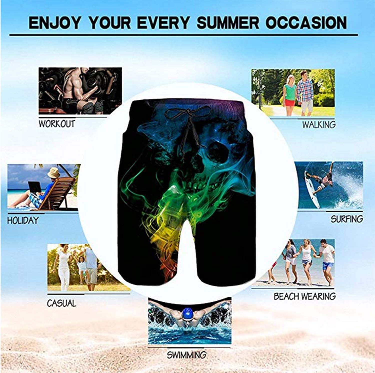 Trisharosew Mens Foreigner Music Band Summer Beach Board Shorts Quick Dry Drawstring Surf Shorts