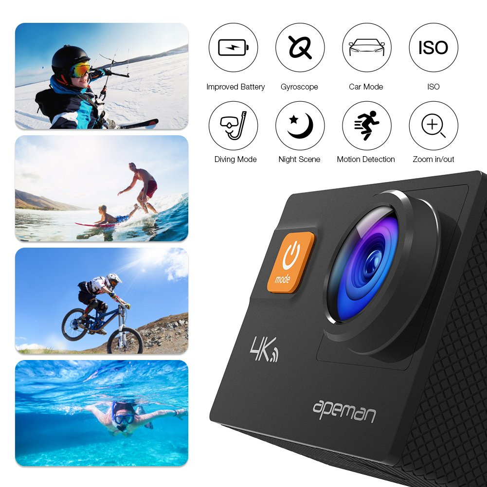 APEMAN Action Camera 4K 20MP WiFi Ultra HD Underwater Waterproof 40M Sports Camcorder with 170° EIS Sony Sensor, 2 Upgraded Batteries, Portable Carrying Bag and 24 Mounting Accessories Kits by APEMAN (Image #4)