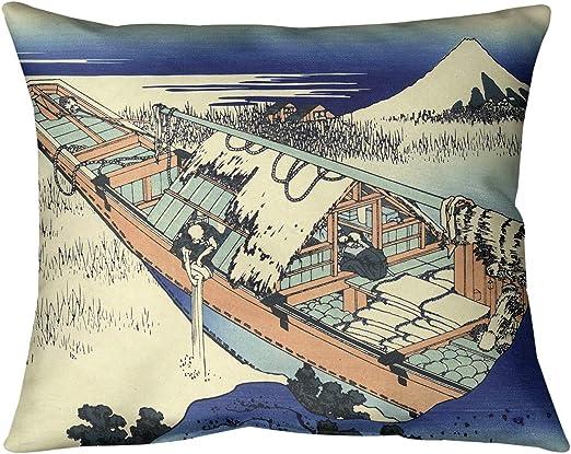 ArtVerse Katsushika Hokusai 14 x 20 Spun Polyester Cherry Trees in Blue Orange and Gold Pillow