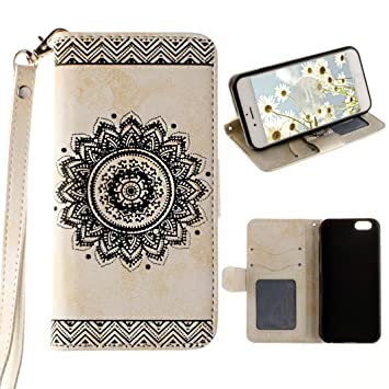 Funda Piel para iPhone 6 Plus, iPhone 6s Plus Funda con Tapas, Moon mood Mandala Magnético Funda Libro Flip Carcasa Case Cover de Cuero Funda Cartera ...