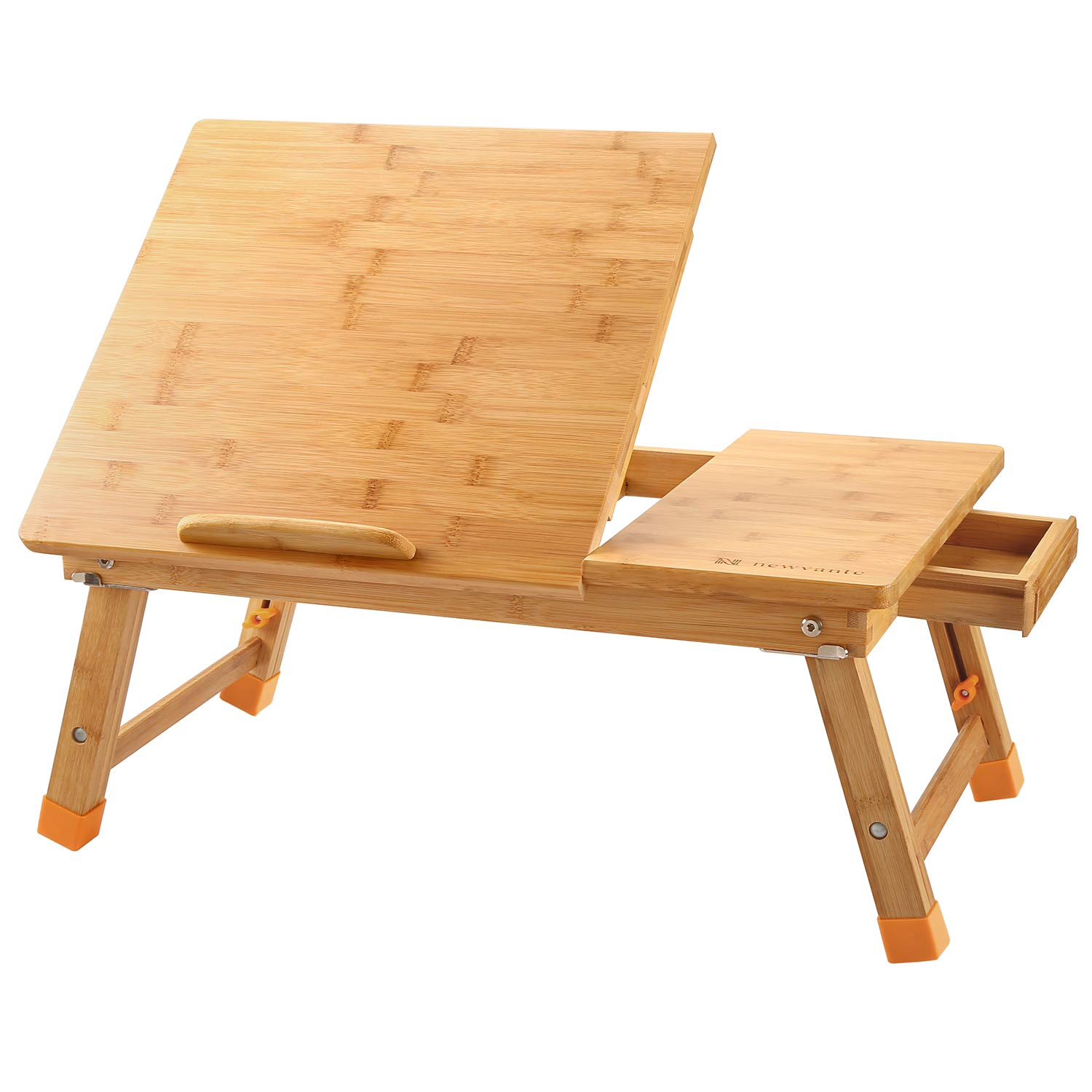 Large Laptop Desk Nnewvante Table Adjustable 100% Bamboo Foldable Breakfast Serving Bed Tray Table w' Tilting Top Drawer Leg Cover by NNEWVANTE