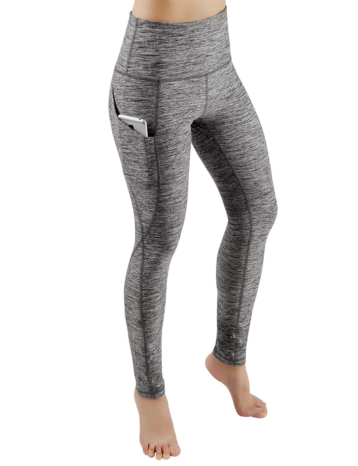 ODODOS Women's High Waist Yoga Pants with Pockets,Tummy Control,Workout Pants Running 4 Way Stretch Yoga Leggings with Pockets,GrayHeather,X-Large by ODODOS