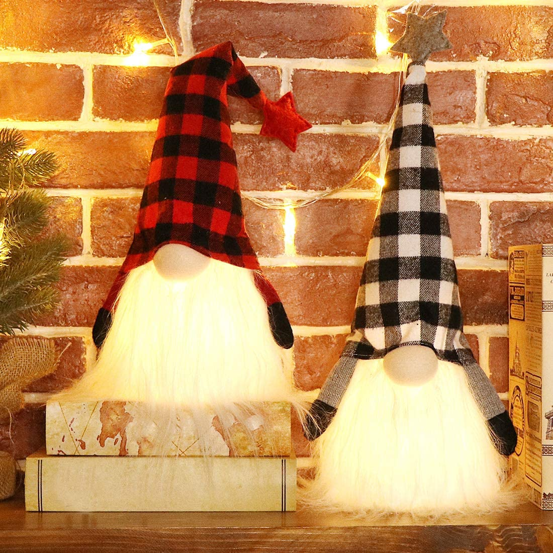 EDLDECCO Christmas Gnome with Light Timer 18 Inches Set of 2 Plaid Buffalo Check Nisse Figurine Plush Swedish Nordic Tomte Scandinavian Elf X'Mas Holiday Party Home Decor Ornaments (Red & Black)