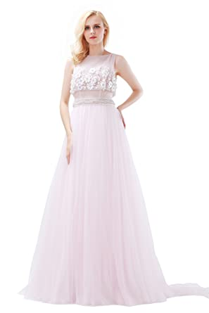 Finove Womens Light Pink Prom Dresses with Beading and Appliques Evening Dresses - Pink -