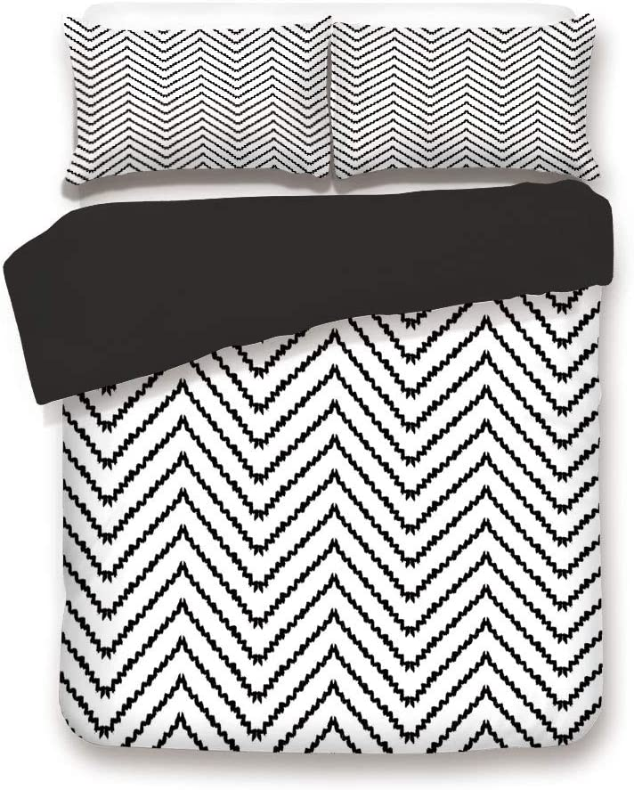 Black 3pc Bedding Set,Geometric Triangle Zig Zag Triggering Lines Minimalist Pattern Decor Twin Size Duvet Cover Set,Printed Comforter Cover with 2 Pillowcases for Teens Boys Man
