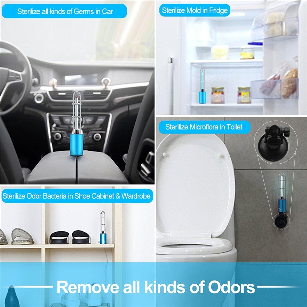 Purificador de Aire Fochea USB Portátil UV-C y Ozono Esterilización Lámpara Desinfección para Coche/Refrigerador Doméstico/Armario/Cuarto de Baño/Zona de ...
