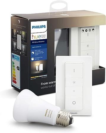 Philips Hue Bombilla inteligente LED E27 con Mando Inalámbrico, con Bluetooth, Luz Blanca de Cá...